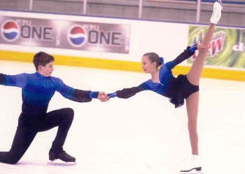 Will (15) and Christina (10) skating a pairs program in 2000.