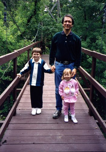 Will (7), Terry, and Christina (2) during our first-day-of-school hike at the Missouri River, 1992