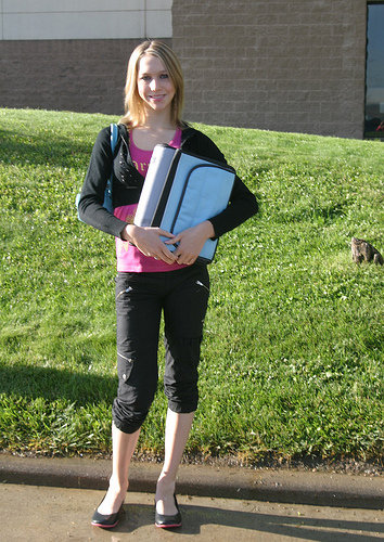 Christina's first day as a concurrent high school/college student, 2005.