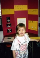 Christina at the homeschool co-op science fair, 1994.