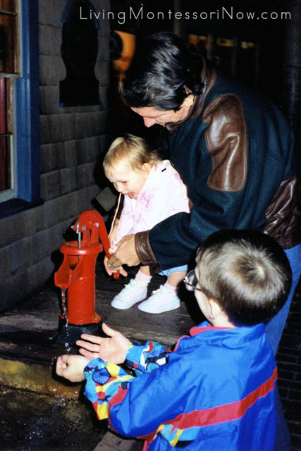 Will (6½), Christina (1½), and Terry during a visit to the Milwaukee Public Museum, 1991.