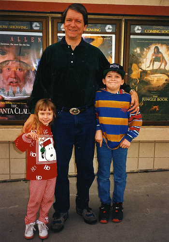 Christina (4), Terry, and Will (9) on our outing to see The Santa Clause during an unusually warm Christmas season in 1994.