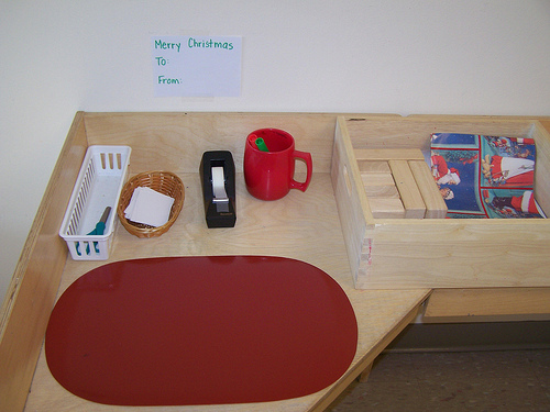 Gift Wrapping Work (Photo from My Montessori Journey)