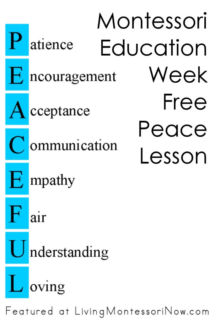 Montessori Education Week Free Peace Lesson