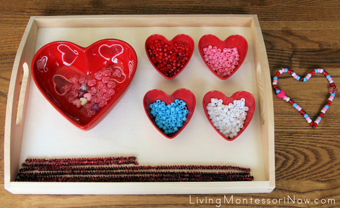 Montessori-Oriented Pipe Cleaner and Bead Valentine's Day Activity