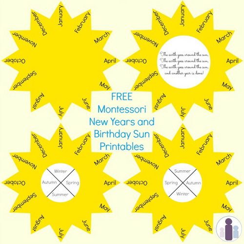 Free Printables for Montessori New Years and Birthday Sun Celebrations (Photo from Racheous - Lovable Learning)