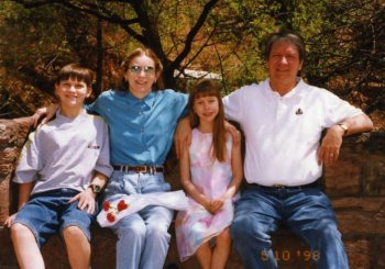 Will (13), Deb, Christina (8), and Terry on Mother's Day, 1998.