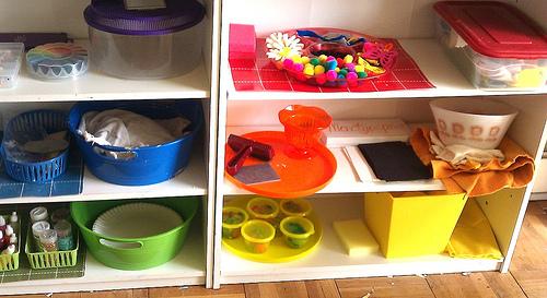 Montessori-Inspired Art Shelves (from Cooperating 4 Boys)