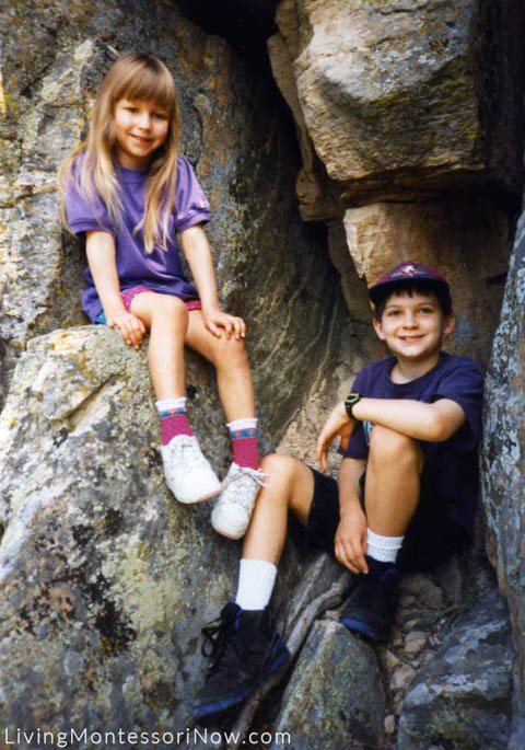 Christina (5) and Will (10) during more explorations of the Black Hills, 1995
