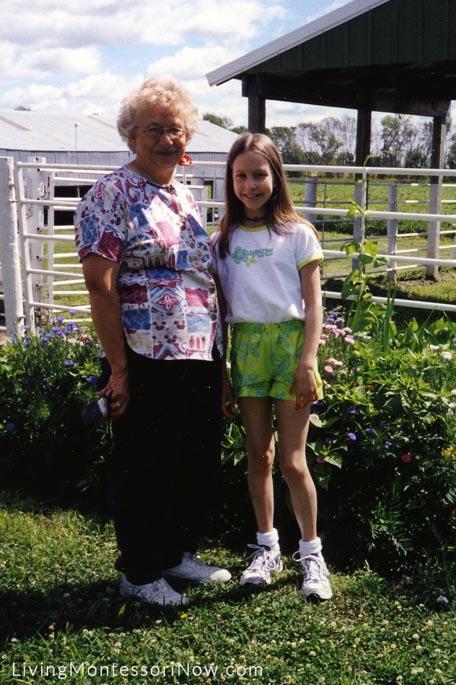 Grandma Judy and Christina with Grandma's Flowers, 2000