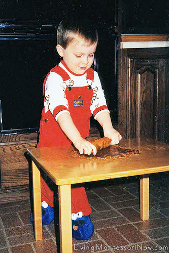 Will, 2 and one-half, working at his toddler table, 1987