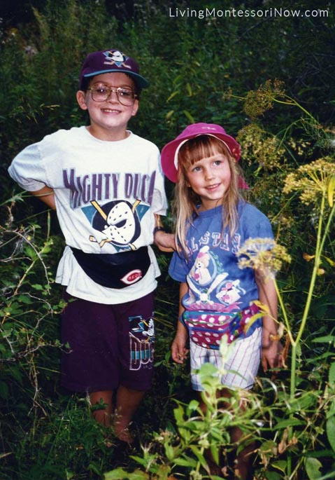 Will (9) and Christina (4) on a nature hike in the Black Hills, 1994