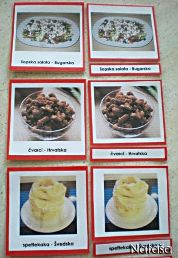 3-Part Cards with Foods Typical of Europe (Photo from Leptir)
