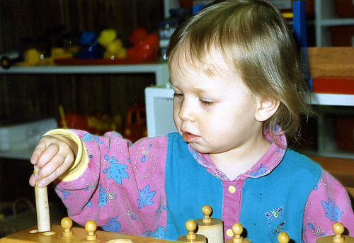 My Daughter at 1 1/2 Working with a Self-Correcting Montessori Cylinder Block