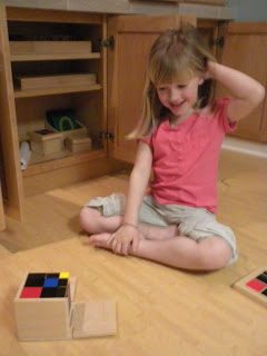 Following an Interest and Reaching Success with the Trinomial Cube (Photo from Discovery Days and Montessori Moments)
