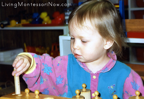 My Daughter at 1½ Working with a Self-Correcting Montessori Cylinder Block