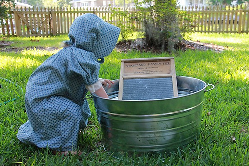 Washing Clothes on a Washboard (Photo from Chasing Cheerios)