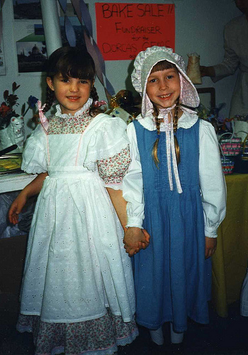 Christina (6, on right) and friend at a pioneer-inspired homeschool event, 1996.