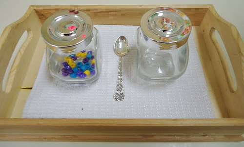 Open and Close with Spooning Beads Activity (Photo from To the Lesson!)