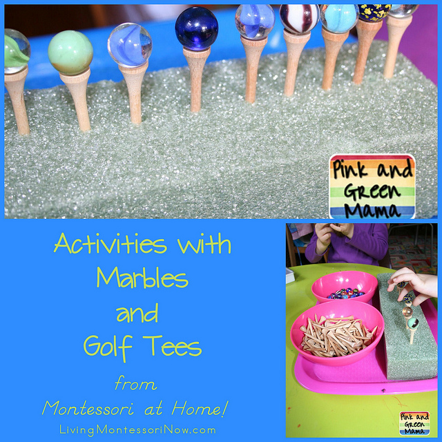 Montessori Monday – Activities with Marbles and Golf Tees from Montessori at Home!