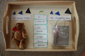 Montessori-Inspired Preposition Work Based on the Book Corduroy (Photo by Julie at Nurturing Learning)