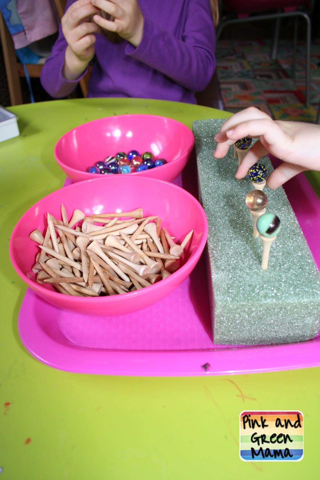 Balancing Marbles (Photo from Pink and Green Mama)