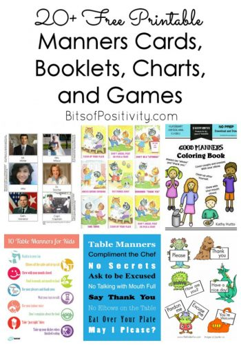 20+ Free Printable Manners Cards, Booklets, Charts, and Games