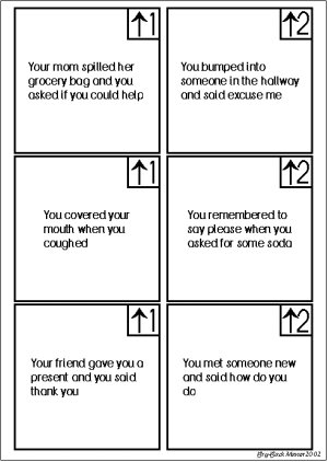 Manners Cards for Manners Board Game, 1 of 5 pages (Image from Bry-Back Manor)