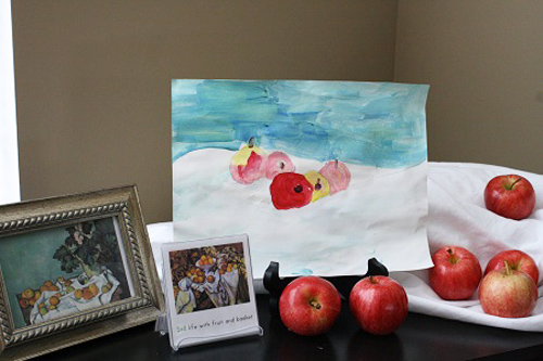 Apple Still Life Inspired by Paul Cezanne (Photo by Julie from Nurturing Learning)