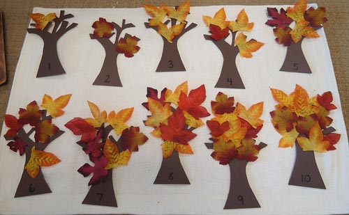 Autumn Trees 1-10 (Photo from Dirigo Montessori School)