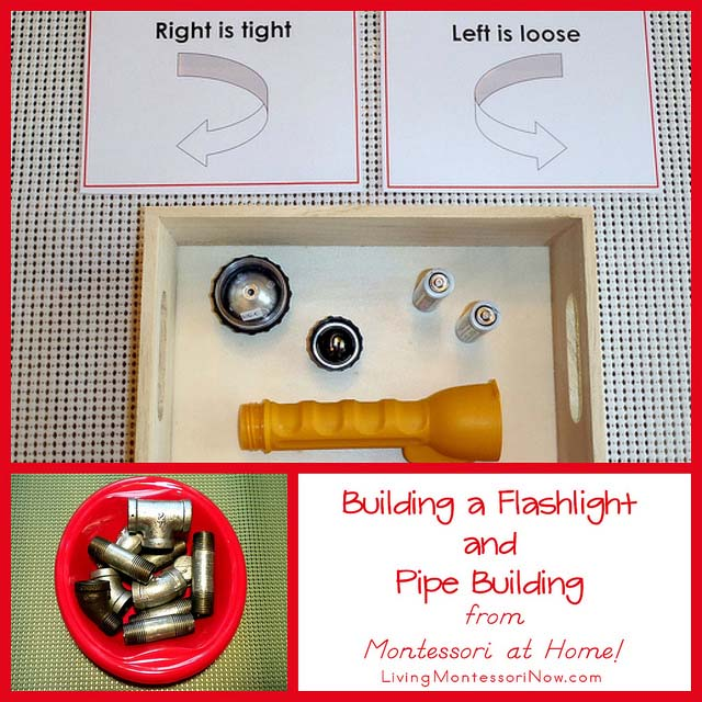 Montessori Monday – Building a Flashlight and Pipe Building from Montessori at Home!