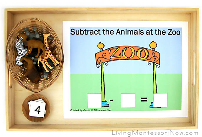Subtract the Animals at the Zoo Tray