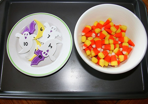 Candy Corn Math Work (Photo from Chasing Cheerios)