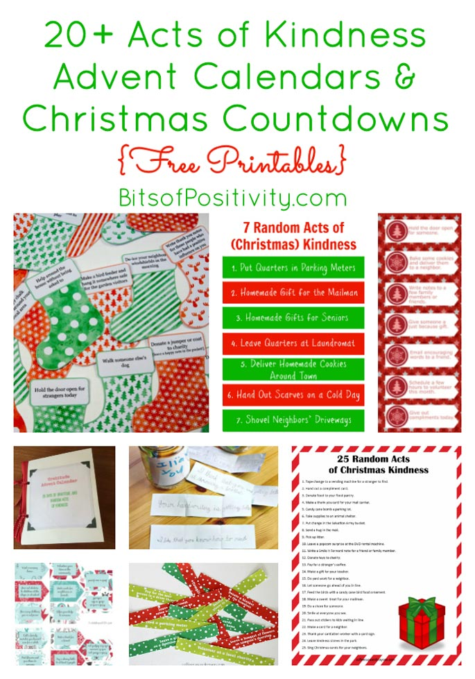 20+ Acts of Kindness Advent Calendars & Christmas Countdowns {Free Printables}