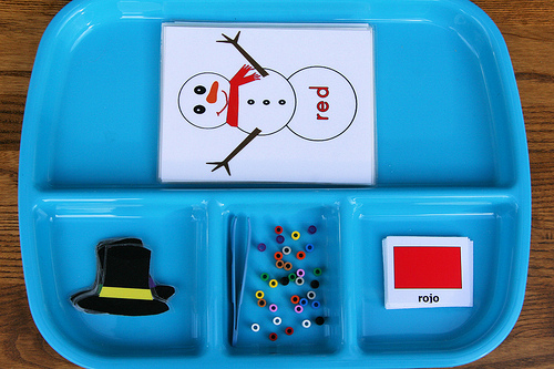 Montessori-Inspired Snowman Color Tray