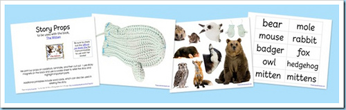 The Mitten Story Props Printable (Image from 1+1+1=1)