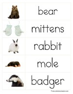 The Mitten Word Cards (Imge from 1+1+1=1)
