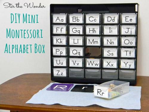 DIY Mini Montessori Alphabet Box (Photo from Stir the Wonder)