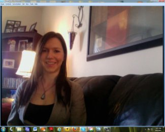 My daughter, Christina, talking to me on Skype