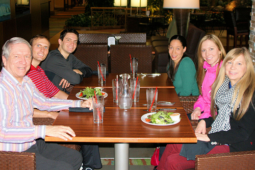 Terry, Tom, Will, Chea, Christina, and Deb enjoying time together for a meal in the New Year.