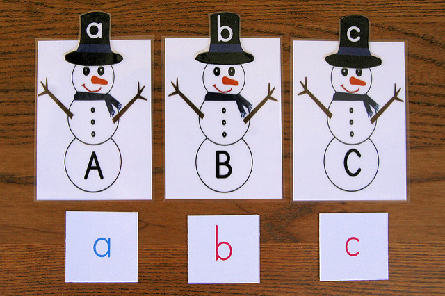 ABC Letter Snowmen with Movable alphabet