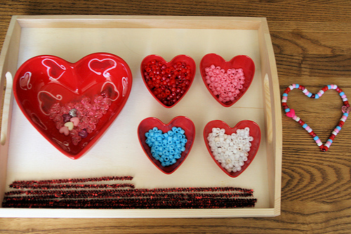 Montessori-Oriented Pipe-Cleaner-and-Bead Valentine