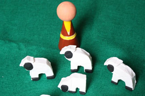 Wooden Peg Doll Good Shepherd and Polymer Clay Sheep (Photo from Explore and Express)