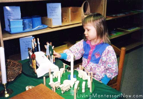 Christina at 2 12 using Catechesis of the Good Shepherd materials, 1993