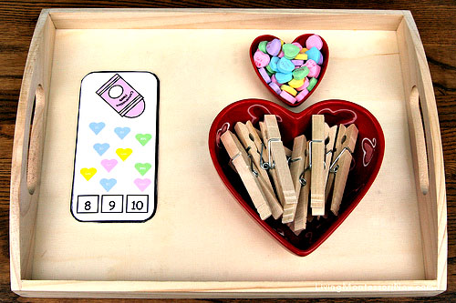 Conversation Hearts Count and Clip Cards