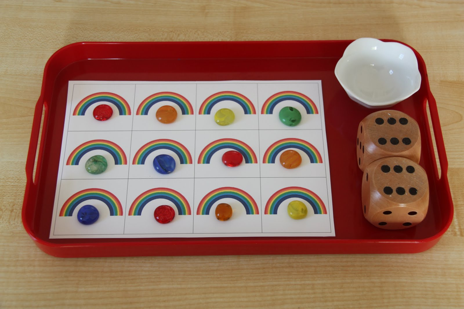 Rainbow Addition and Subtraction Game (Photo from Counting Coconuts)