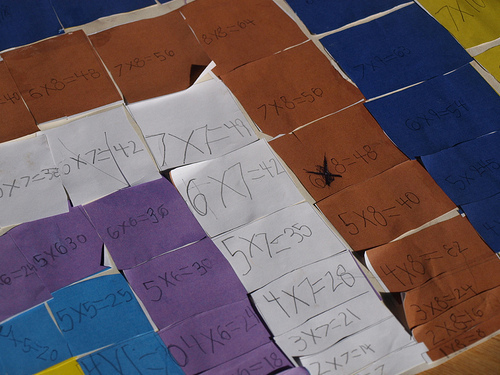 Multiplication Facts Using the Square of Pythagoras (Photo from Work and Play, Day by Day)