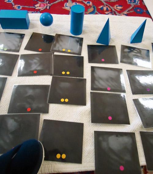 Backs of Geometric Solids Sorting Cards Showing Control of Error (Photo from Dirigo Montessori School)