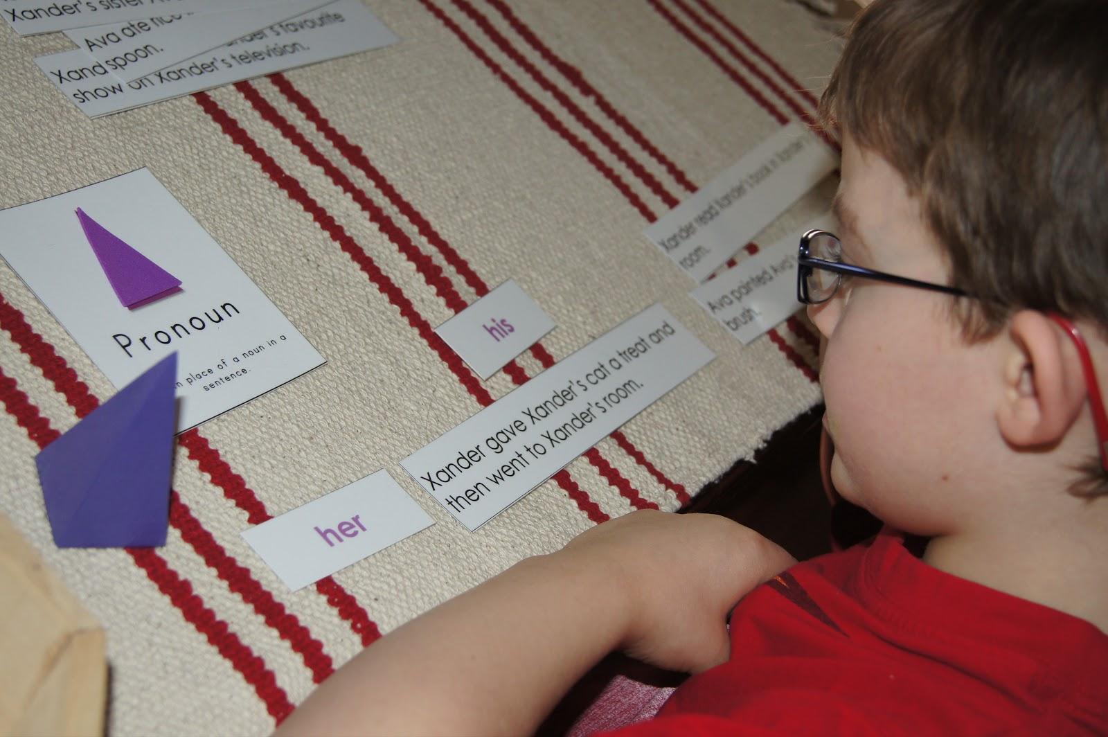 Pronoun Work (Photo from Making Montessori Ours)