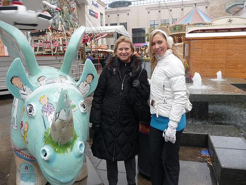 Beth and Christina at the Dortmund, Germany, Christmas Market, 2009.
